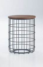 Contemporary Modern Design Black Wire Natural Oak Round Side Table