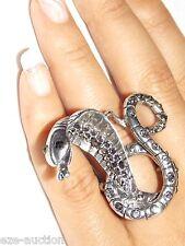 Long Headed Cobra Snake Silver W. Black Diamond Stretch Halloween Ring