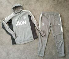 Mens Adidas Manchester United Full Tracksuit Hoodie Joggers VGC - Size Large