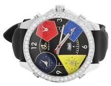 Excellent Mens Jacob & Co 5 Timezone Multi-Color 47MM Diamond Watch 3.5 Ct