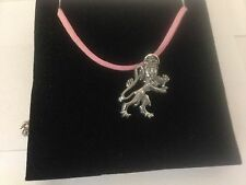 Royal Arms Lion Pewter Pendant on a PINK CORD Necklace Box1 Q