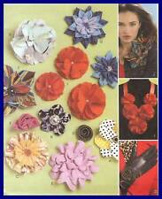 Fabric Flowers 2sew PATTERN 10 styles accessories McCalls 6047 Roses Mums