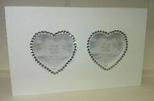 """Shabby Chic White with Diamante Heart Wooden Twin Photo Frame 3"""" x 3"""" Wall Hang"""