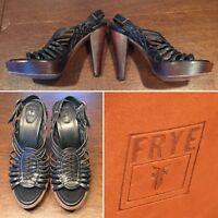 FRYE Black Leather Open-Toe Platform Strap Strappy High Heels Shoes Size 10