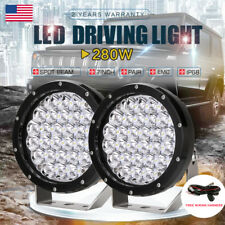 Pair Black 7 Inch 280W Driving Spot 5W Cree LED Work Light Offroad Round Lamp
