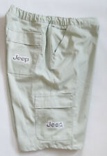 """Jeep Mens Size 39""""/40"""" Lt. Gray Cargo Shorts with Jeep Logo Embroidered Pockets"""