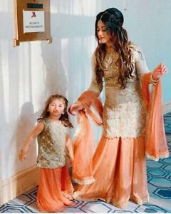 Mother Daughter Combo Pakistani Palazzo Kids Dress Salwar Kameez Sharara Suit
