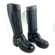Harley Davidson Women's Size 7 Knee High Black Leather Zip Up Biker Boots
