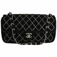 Rare Chanel black velvet chain quilted East West CC turnlock Classic Flap