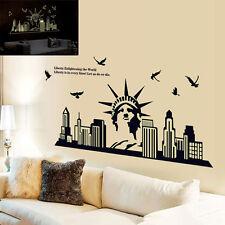 New York City Silhouette Statue of Liberty Fluorescent Wall Sticker Decals Decor