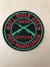 Vtg NRA Junior Division Pro Marksman National Rifle Association Sew On Patch