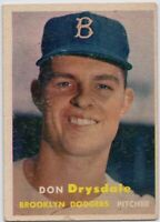 1957 Topps #18 Don Drysdale VG Wrinkle RC Rookie Brooklyn Dodgers FREE SHIPPING