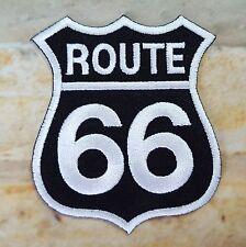 Stemma toppa termoadesivo ricamata route 66 USA biker- fondo nero