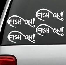 4-COUNT Fish On Fishing Decal Sticker Bass Boat Trailer Rod Reel Lure Bait