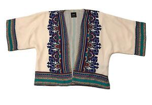 Sportsgirl Hippy Boho Patterned Short Kimono Coat Jacket Size 10