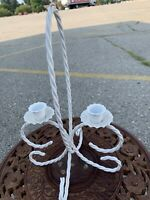 Vintage French Country Farmhouse White Wrought Iron White Candle Holder~2 Candle