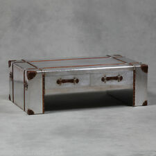 Large Industrial Vintage Style Silver Metal Travel Trunk Coffee Table