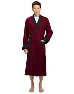 Mens Long Silk Satin Robe - Fully lined Heavy weight - Burgundy / Black