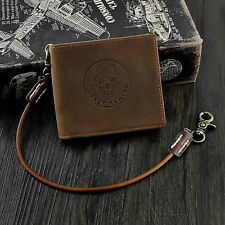 gothic Skull Men's Leather Bifold Money Clip Wallet With Biker Chain