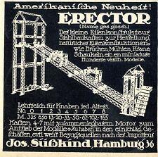 Erector-stahlbaukasten con motor süßkind hamburgo histórico anuncio 1913