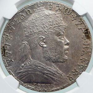 1895 ETHIOPIA Lion of Judah EMPEROR MENELIK II Old Silver Birr Coin NGC i87741