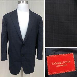 Men's Samuelsohn 48R Navy Windowpane Plaid 100% Wool 2-Button Blazer Jacket
