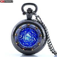 Vintage Star Gate Water Antique Pocket Watch Chain Quartz Necklace Gift New