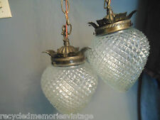 vtg light lamp ceiling swag 2 double clear pineapple nice