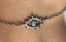 Sophie HARLEY solido 18 Kt WHITE GOLD DIAMOND Eye Amuleto Catena Braccialetto loveknot