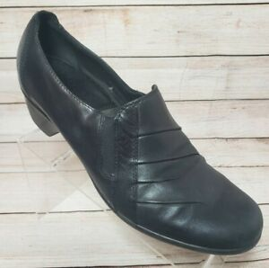 Clarks Partridge Shoes Sz 12M Black Pleated Leather Slip On Comfort Shoes 89487