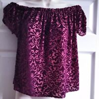 Hollister Co Size Small Burgundy Velvet Top Bardot Sheer Damask Red Valentine