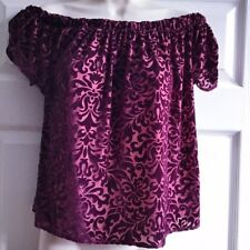Ladies Hollister Co Size Small Top Burgundy Red Bardot Velvet Damask Floaty
