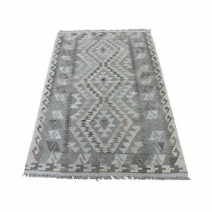 """3'2""""x5' Undyed Natural Wool Afghan Kilim Reversible Hand Woven Rug R43814"""