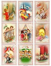 9 Retro Night Before Christmas ATC Cards Hang Tags Scrapbooking Paper Craft(348)