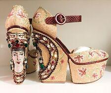 Dolce & Gabbana Gold Embellished Crystal Mosaic Metallic Byzantine Ayers Wedge