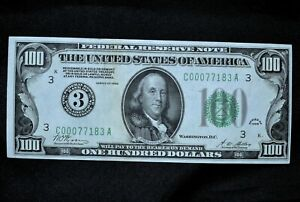 1928 $100 FEDERAL RESERVE NOTE ✪ UNCIRCULATED ✪ NUMERICAL NUMERAL 3 ◢TRUSTED◣