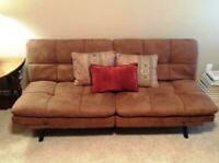 SLEEPER SOFA BED Suede Convertible Couch Modern Living Room Futon Loveseat