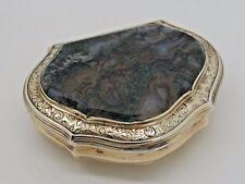 Antique Silver Gilt Snuff box AGATE 1750 – George II RARE SUPERB