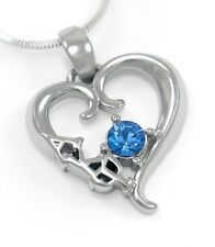 Alpha Kappa Psi Sterling Silver Heart Pendant with CZ Blue Crystal