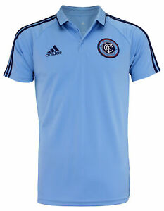 adidas MLS Men's New York City FC Climalite 3-Stripe Coaches Polo, Blue