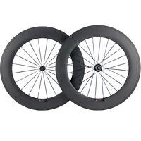 88mm Road Bike Wheel Set Clincher Matte Cycle Bicycle Carbon Wheels 700C R13 Hub