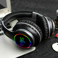 LED Bluetooth 5.0 Wireless Headphones Earphones Bass Over Ear Noise Cancelling@