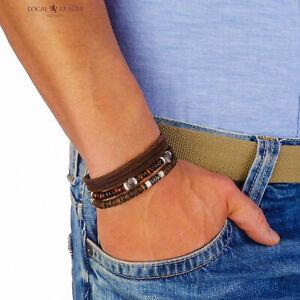 Mens Beaded Bracelet Set Leather Cord Beads Man Wristband Rope Wrap Boy Surfer