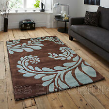 Large Modern Carved 2cm Quality 120x170cm Brown Blue Leaf Acrylic Design Rugs