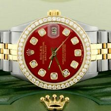 Womens Rolex Datejust 2-Tone Gold/Steel 31mm w/Imperial Red Dial & Diamond Bezel