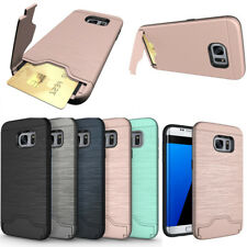 For Samsung S9 Plus S8 Slim Wallet Hybrid Shockproof Card Slots Stand Case Cover