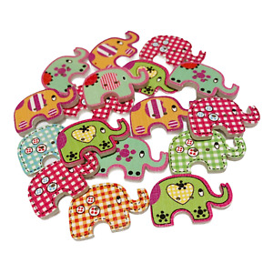 30 WOODEN ELEPHANT BUTTONS - MIXED DESIGNS - CRAFT - SCRAPBOOK - SEWING - CARDS