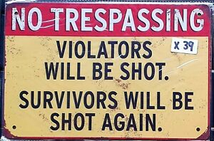 No Trespassing Funny Tin Sign Bar Shed & Man Cave Signs AU Seller