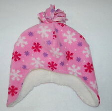 Toddler Girls Winter Hat FLEECE Sherpa Lining PINK SNOWFLAKE