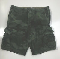 Abercrombie & Fitch Camo Cargo Shorts Button Fly Distressed Size 32 Green